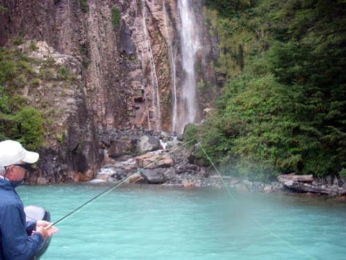 A Cascade into the unique-colored Lago Azul. Photo by: Brent Boone
