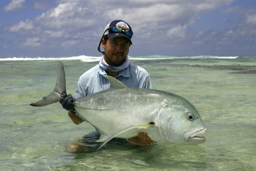 45 Pound GT on the Reef.  Photo By:  David Leake