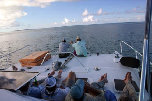 Relaxing aboard the Tam Tam. Photo by: Brent Boone