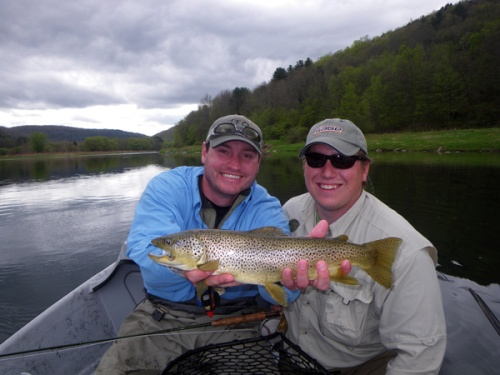 Phil and Kevin pose with a nice Main Stem brown. Photo by: Randy Imel