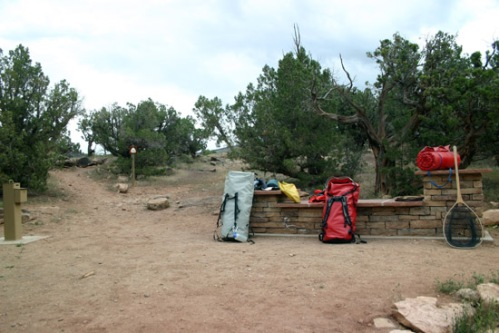 Getting the gear ready at the top of Chukar Trail. Photo by: Bart Larmouth