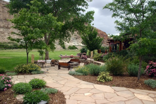 The Patio at Black Canyon Anglers, complete with firepit. Photo by: Bart Larmouth